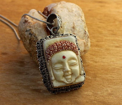 Modern Tibet Jewelry,New Items,Buddha Default Hand Carved Buddha Pendant in Sterling Silver
