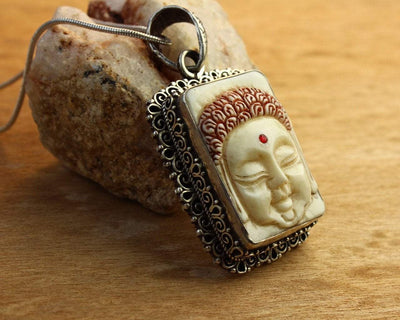 Jewelry,New Items,Buddha Default Hand Carved Buddha Pendant in Sterling Silver jp209