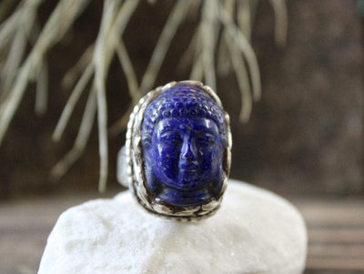 Jewelry,New Items,Buddha,Men's Jewelry,Deities Default Lapis Medicine Buddha Adjustable Ring jr065