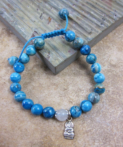 Jewelry,New Items,Buddha,Tibetan Style Default Crazy Lace Agate and Buddha Wrist Mala wm092