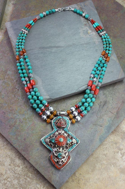 Jewelry,New Items Default A Bold Tibetan Statement Necklace jn099