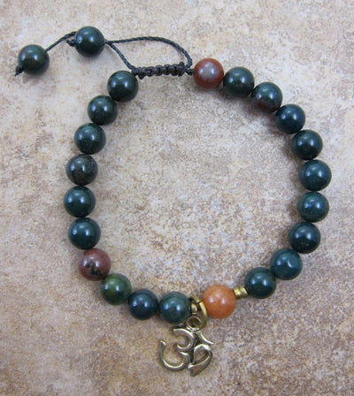 Jewelry,New Items Default Dark Green jasper and Carnelian Wrist Mala wm071