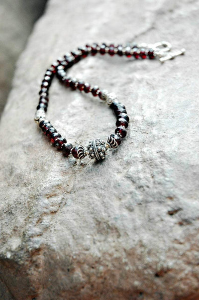 Jewelry,New Items Default Garnet and Sterling Silver Necklace jn156
