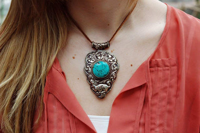 Jewelry,New Items Default One-of-a-Kind Round Turquoise Stone Pendant jp308