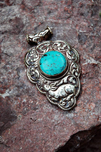 Modern Tibet Jewelry,New Items Default One-of-a-Kind Round Turquoise Stone Pendant