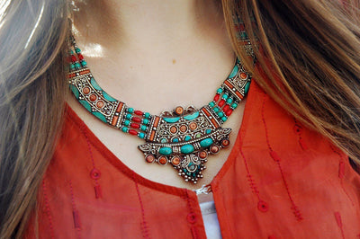 Jewelry,New Items Default One of a Kind Sherpa Coral and Turquoise Necklace jn178