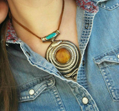 Jewelry,New Items Default One-of-a-Kind Snake Copal and Turquoise Pendant jp302