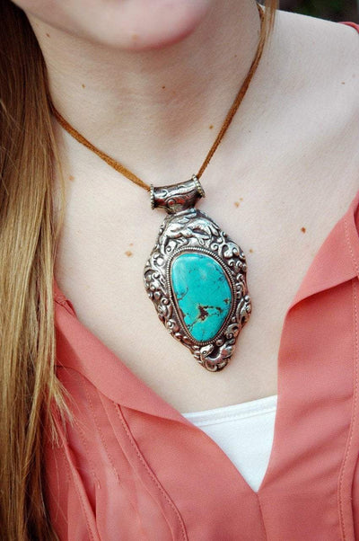 Jewelry,New Items Default One-of-a-Kind Turquoise and Silver Plated Brass Pendant jp309