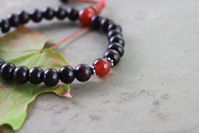 Jewelry,New Items Default Rosewood and Carnelian Stretchy Wrist Mala wm145