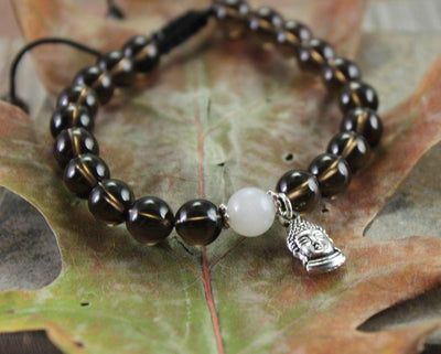 Jewelry,New Items Default Smoky Quartz Buddha Wrist Mala wm171