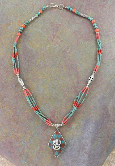 Jewelry,New Items Default Sterling Silver Turquoise and Coral Ganesh Necklace jn090