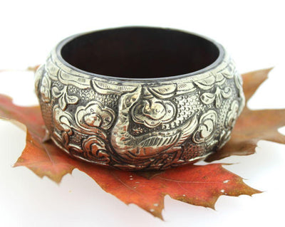 Jewelry,New Items Default Tibetan Hand Carved Wood and Silver Bracelet jb087