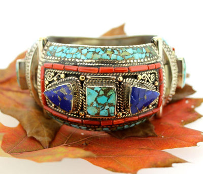 Jewelry,New Items Default Traditional Tibetan Lapis and Turquoise Bracelet jb086
