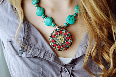 Jewelry,New Items Default Turquoise Round Pendant Necklace jn139