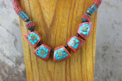 Jewelry,New Items Default Vintage Coral Inlaid Beads Necklace jn115