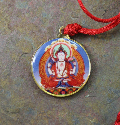 Jewelry,New Items,Deities Default Chenrezig Round Enamel Pendant jp242
