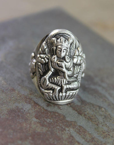 Jewelry,New Items,Gifts,Buddha,Tibetan Style 10 Sterling Silver Tara Ring jr036010