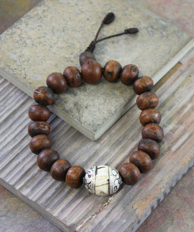 Jewelry,New Items,Gifts,Men's Jewelry Default Large Mens Bodhi Seed With Naga Shell Wrist Mala wm166