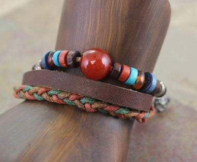 Jewelry,New Items,Gifts,Men's Jewelry Default Mens Leather Bracelet Hemp and Carnelian jb088