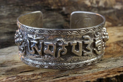 Jewelry,New Items,Gifts,Om,Tibetan Style,Men's Jewelry,Men,Women Default Compassion Mantra With Lotus Flowers Sterling Bracelet JB655