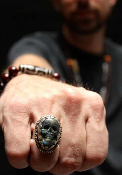 Jewelry,New Items,Men's Jewelry Default Amazing Mens Hand Carved Tibetan Skull Ring jr064