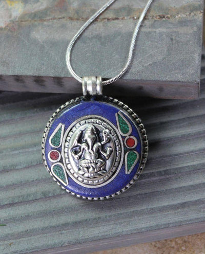 Jewelry,New Items,Men's Jewelry Default lapis Sterling Ganesh Pendant jp296