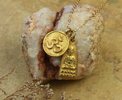 Jewelry,New Items,Mother's Day,The Gold Collection Default Gold Om and Buddha Necklace jn186
