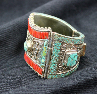 Jewelry,New Items,Mother's Day,Turquoise Default Tibetan Bracelet with Coral and Turquoise jb061