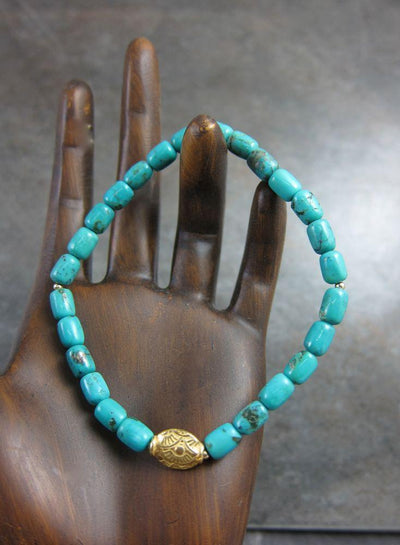 Jewelry,New Items,Mother's Day,Turquoise,The Gold Collection Default Turquoise and Gold Tibetan Bracelet wm083