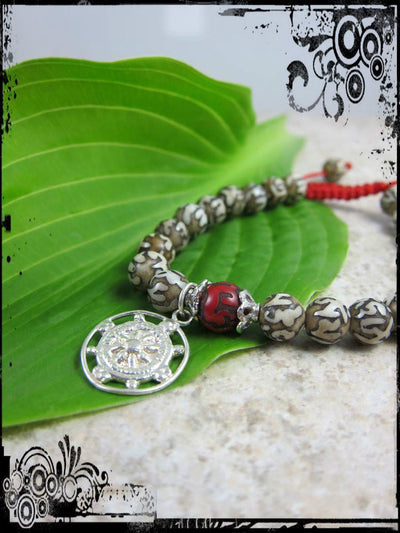 Jewelry,New Items,Om Default Carved Naga Shell Dharma Wheel Wrist Mala wm079