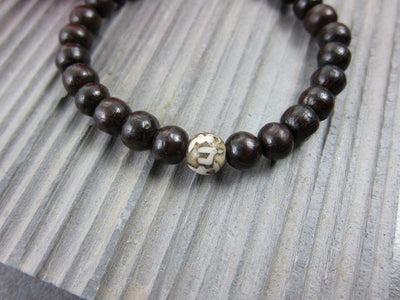 Jewelry,New Items,Om Default Rosewood with Naga Shell Om Mani Beads wm0104