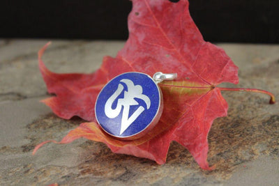 Jewelry,New Items,Om Default Silver Painted Lapis Om Pendant jp238