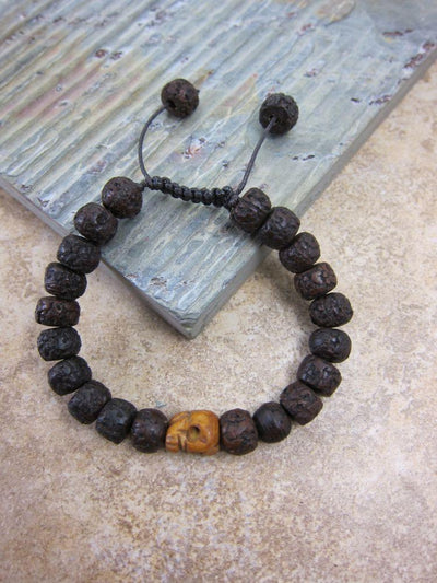 Jewelry,New Items,Skulls,Men's Jewelry Default Rudraksha and Skull Wrist Mala wm093