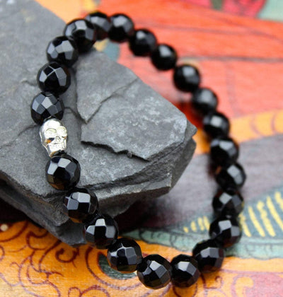 Jewelry,New Items,Skulls,Men's Jewelry Default Skull and Faceted Onyx Wrist Mala wm193