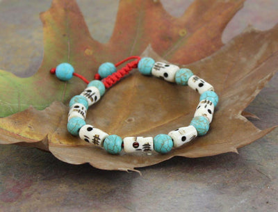 Jewelry,New Items,Skulls,Men's Jewelry,Turquoise Default Skull and Turquoise Wrist Mala wm164