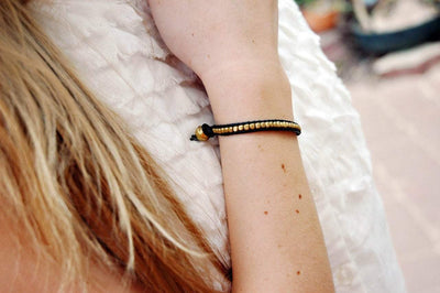 Jewelry,New Items,The Gold Collection Default Gold Bead and Leather Bracelet jb113