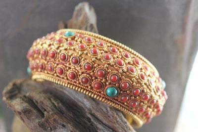 Jewelry,New Items,The Gold Collection Default Superlative Gold Tibetan Bracelet. jb096