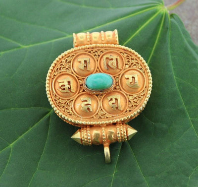 Jewelry,New Items,The Gold Collection Gold Tibetan Gau Charm With Coral and Turquoise ga037