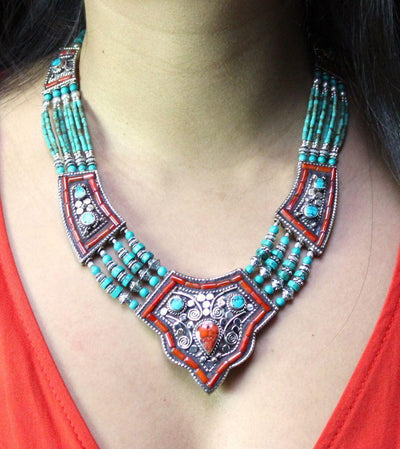 Jewelry,New Items,Tibetan Style Default Coral Traditional Tibetan Beaded Necklace jn159