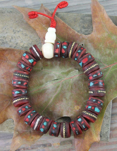 Jewelry,New Items,Tibetan Style Default Tibetan Bone Inlaid Wrist Mala wm056