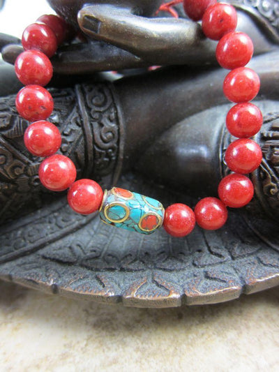Jewelry,New Items,Tibetan Style,Mother's Day Default Red Mountain Jade Adjustable Wrist Mala wm075