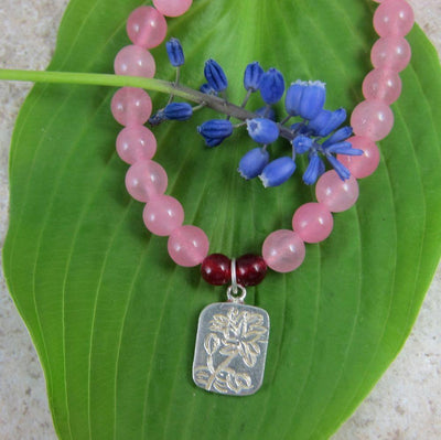 Jewelry,New Items,Tibetan Style,Mother's Day Default Rose Quartz Lotus Wrist mala wm082