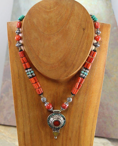 Jewelry,New Items,Tibetan Style,Turquoise Default Traditional Tibetan Amber Turquoise and Coral Necklace jn081