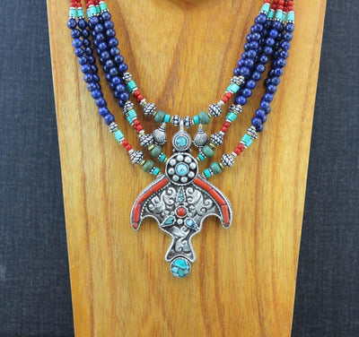 Jewelry,New Items,Turquoise Default Lapis Turquoise Tibetan Beaded Necklace jn071