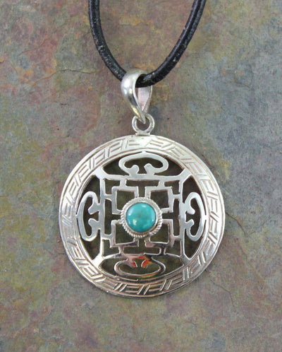 Jewelry,New Items,Turquoise Default Sterling Silver Mandala Turquoise Pendant jp270