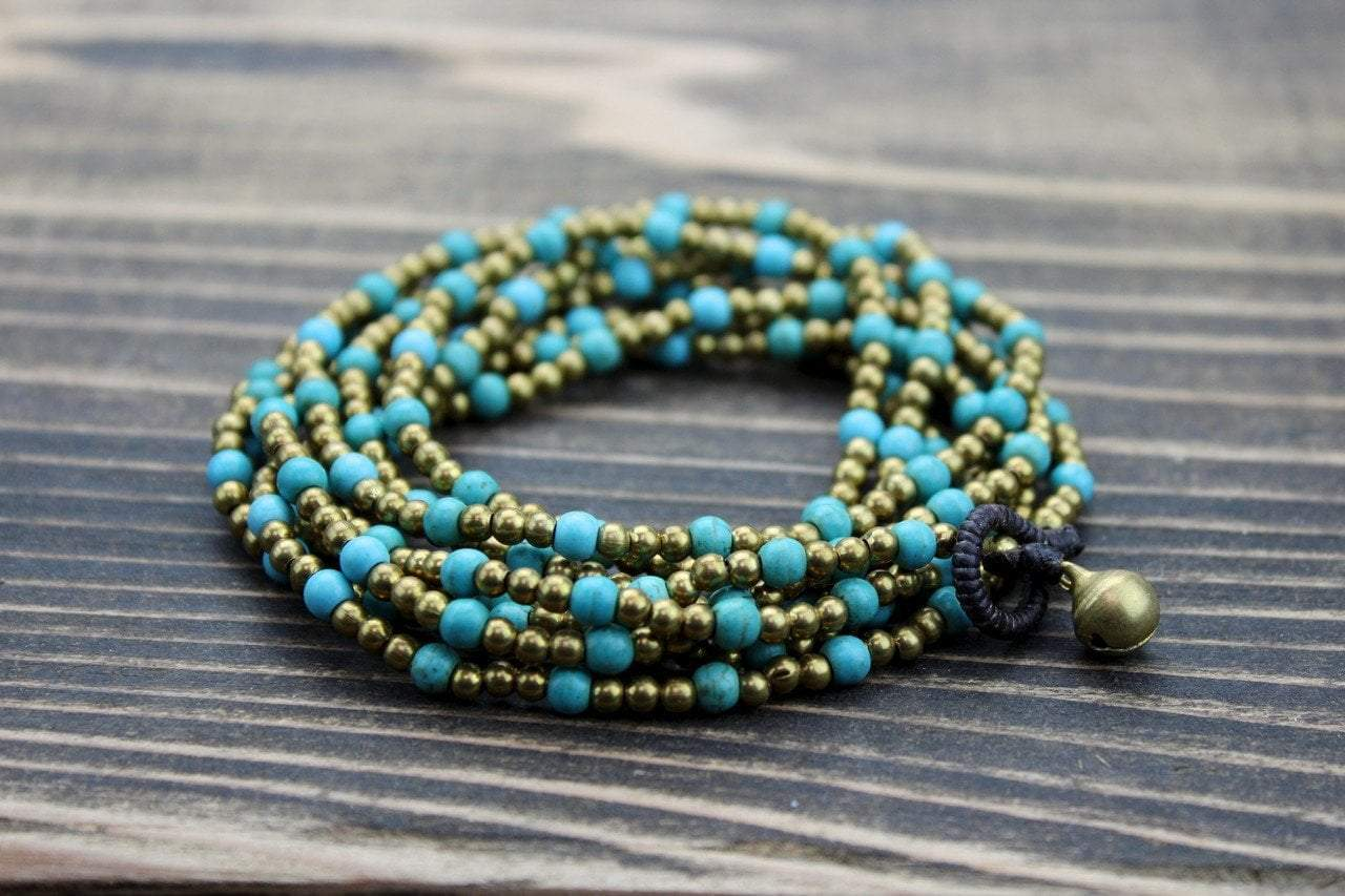 Jewelry,New Items,Turquoise,Valentines Day Gift Guide Default Brass and Turquoise Wrap Bracelet jb152
