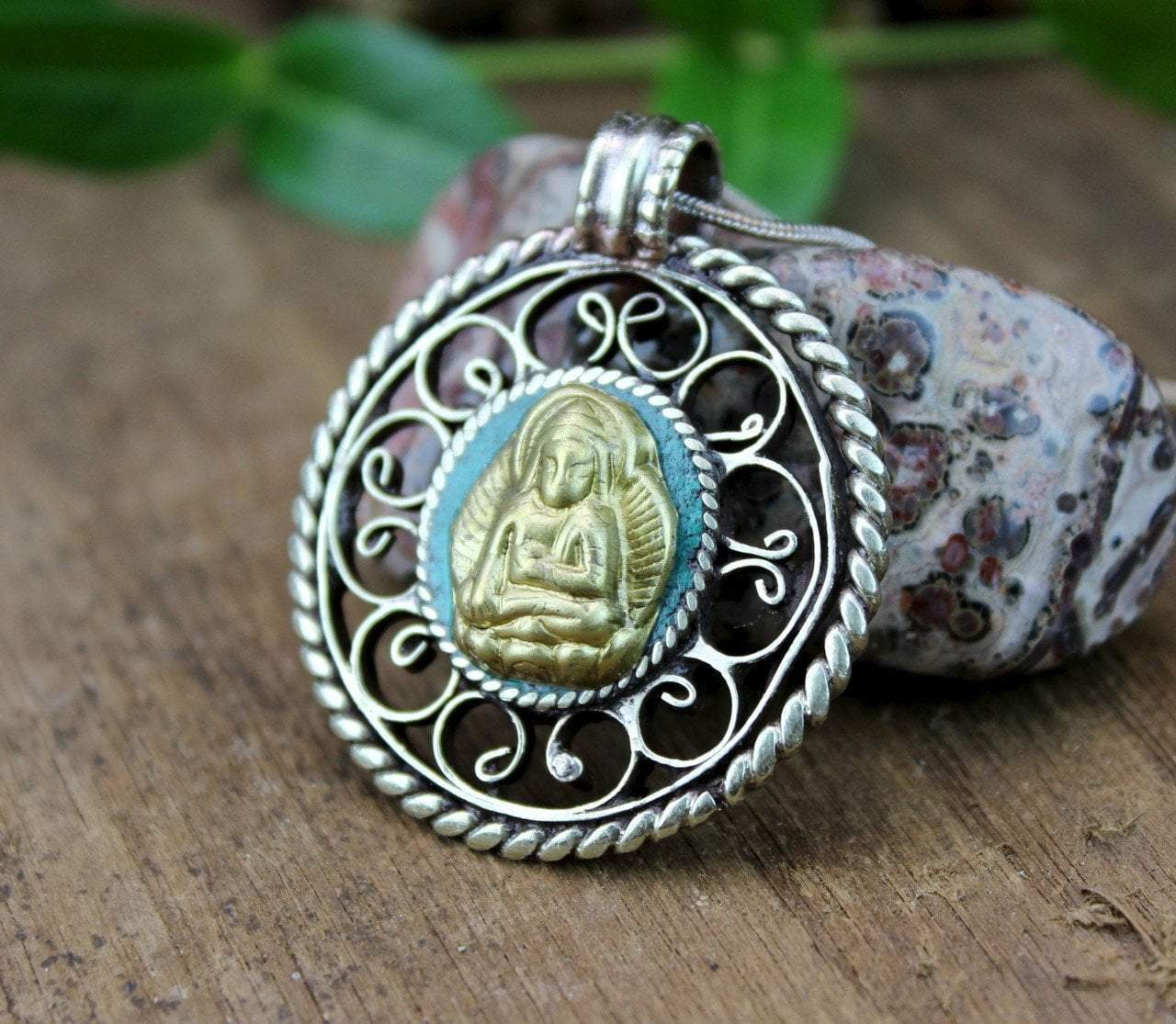 Jewelry,New Items,Under 35 Dollars,Deities Default Turquoise Healing Buddha Pendant jp533