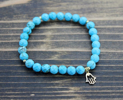 Jewelry,New Items,Under 35 Dollars,Turquoise Default Faceted Turquoise Hamsa Wrist Mala wm318