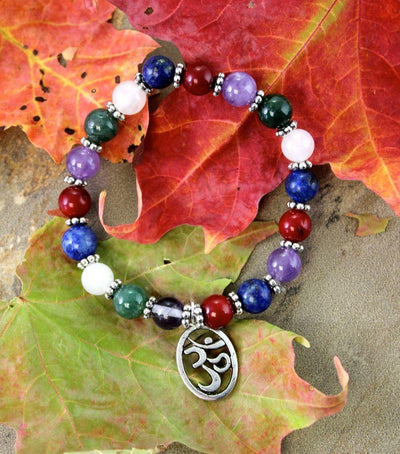 Jewelry,Om,Under 35 Dollars,Tibetan Style Small (fits wrists up to 6 1/2 inches) Om Chakra Wrist Mala wm149small