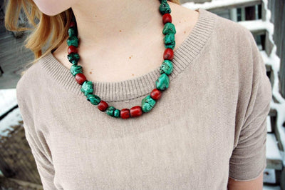 Jewelry,Tibetan Style Default Red and Green Mala Bead Necklace jn196